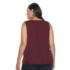 Plus Size Jennifer Lopez Lace-Up Shoulder Tank