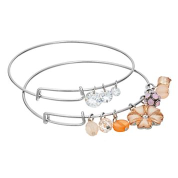 Peach Flower Adjustable Bangle Bracelet Set