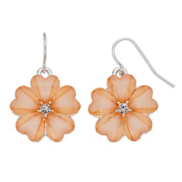 Peach Flower Drop Earrings