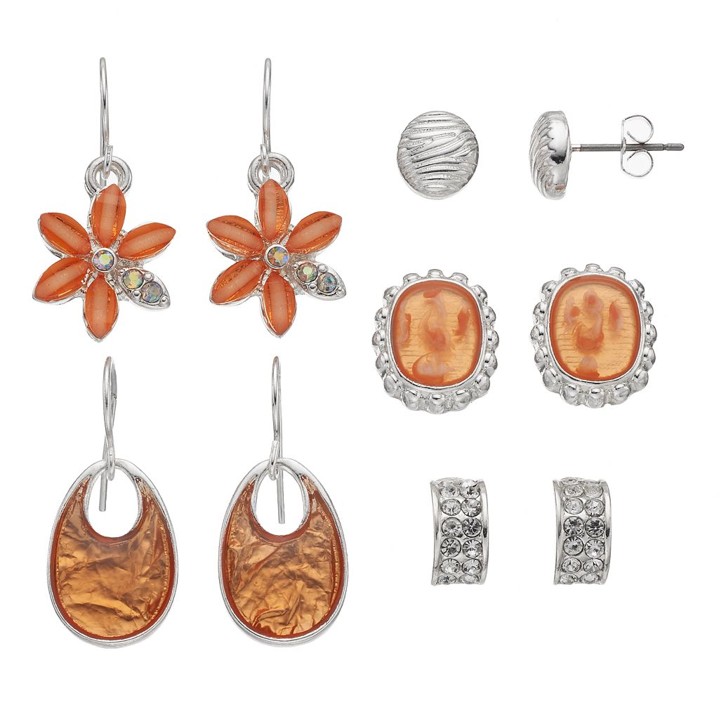Peach Flower, Cabochon & Cutout Earring Set
