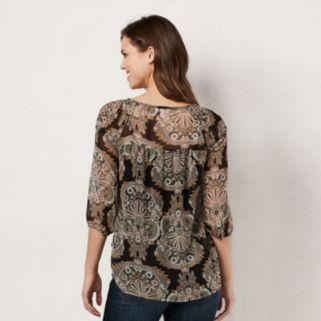 Women's LC Lauren Conrad Printed Chiffon Peasant Top