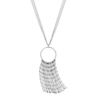 Jennifer Lopez Long Multi Strand Fringe Pendant Necklace