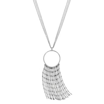Jennifer Lopez Long Multi Strand Fringe Pendant Necklace