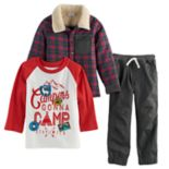 "Toddler Boy Nannette 3-pc. Plaid Jacket, ""Campers"" Raglan Tee & Pants Set"