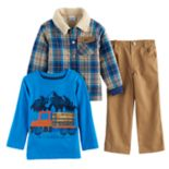 Toddler Boy Nannette 3-pc. Plaid Jacket, Tee & Pants Set
