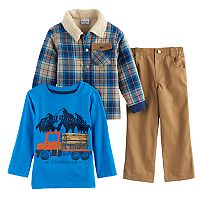 Toddler Boy Nannette 3 pc Plaid Jacket, Tee & Pants Set