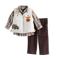 Toddler Boy Nannette Truck Vest, Plaid Shirt & Pants Set
