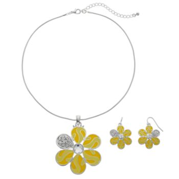 Yellow Flower Pendant Necklace & Drop Earring Set