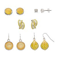 Yellow Stud & Drop Earring Set