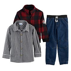 Toddler Boy Nannette 3 pc Plaid Sweater, Plaid Button Down Shirt & Jeans Set