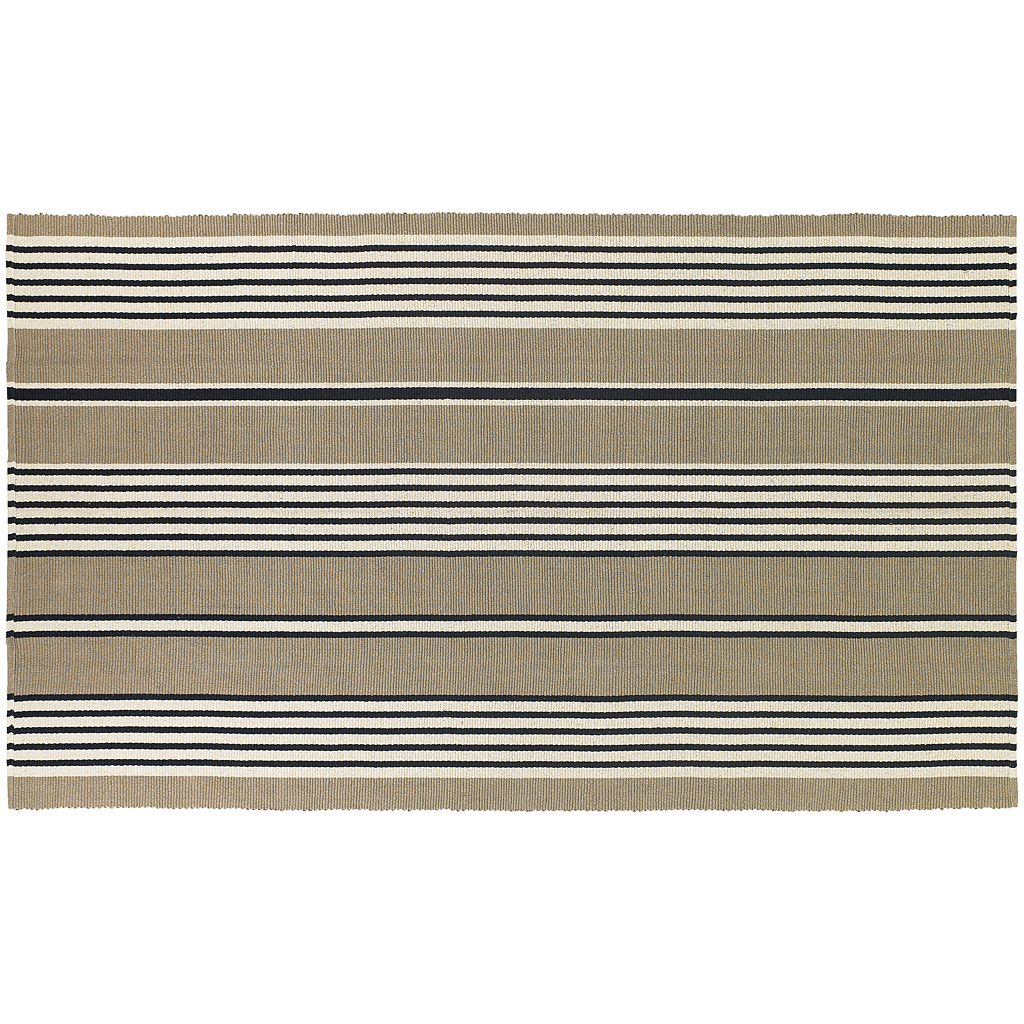 Couristan Bar Harbor Buttered Rum Striped Reversible Cotton Rug