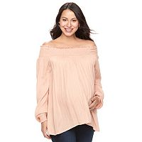 Maternity a:glow Smocked Off-the-Shoulder Top