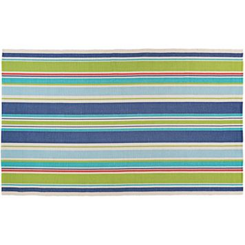 Couristan Bar Harbor Splish Splash Striped Reversible Cotton Rug