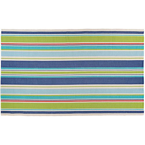 Couristan Bar Harbor Splish Splash Striped Reversible Cotton Rug