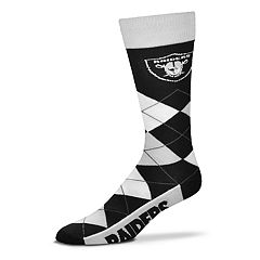 Adult For Bare Feet Oakland Raiders Argyle Line Up Crew Socks