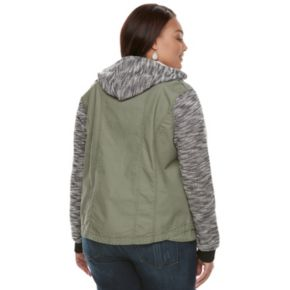 Juniors' Plus Size Mudd® Marled Knit-Sleeve Utility Jacket