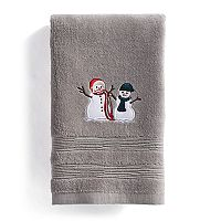 St. Nicholas Square® Through the Woods Snowmen Fingertip Towel