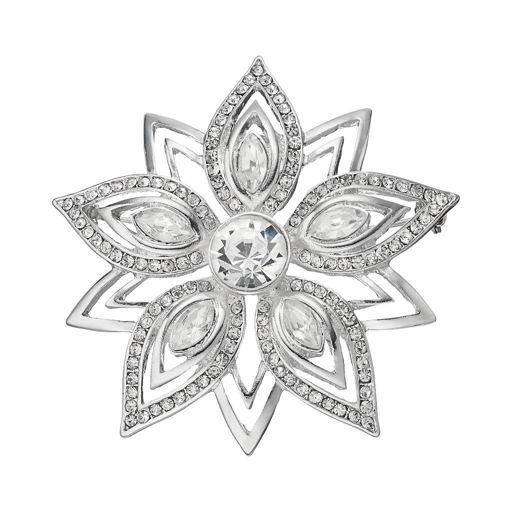 Dana Buchman Openwork Simulated Crystal Flower Pin