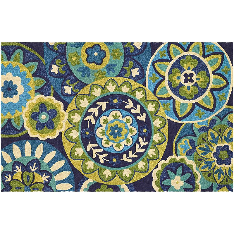 Couristan Covington Rip Tide Floral Indoor Outdoor Rug. Blue. 2X4 Ft