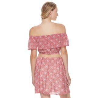 Juniors' Speechless 2-Piece Off Shoulder Crop Top & Skirt Set