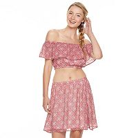 Juniors' Speechless 2-Piece Off Shoulder Crop Top & Skirt Set
