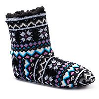 Women's Cuddl Duds Heart Fairisle Bootie Slippers