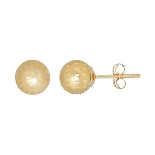Everlasting Gold 10k Gold Textured Ball Stud Earrings