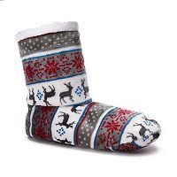Women's Cuddl Duds Reindeer Fairisle Bootie Slippers