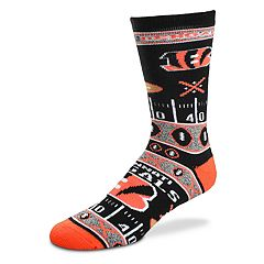 Adult For Bare Feet Cincinnati Bengals Super Fan Crew Socks