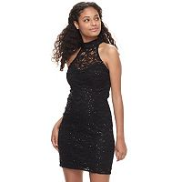 Juniors' Speechless Sequin Strappy Back Bodycon Dress