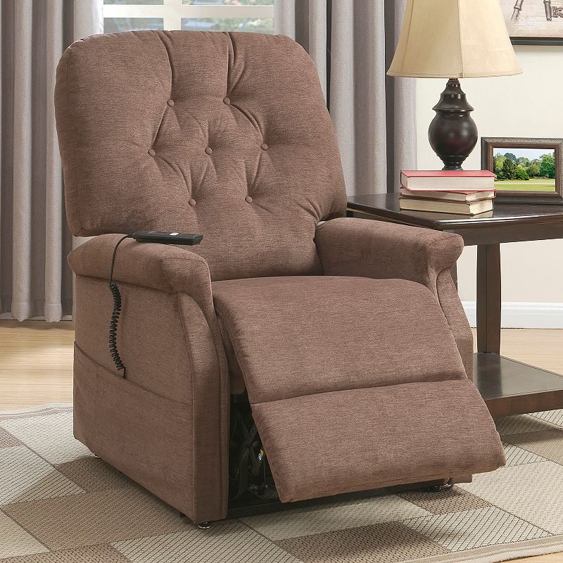 Pulaski Tufted Remote Lift Recliner Arm Chair. Brown