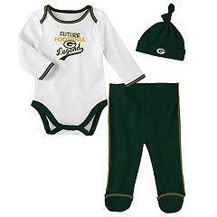 Baby Green Bay Packers Future Legend Bodysuit, Pants & Hat Set