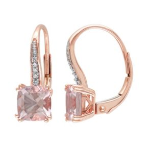 10k Rose Gold Morganite & Diamond Accent Drop Earrings