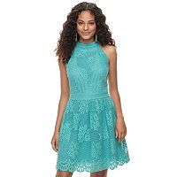 Juniors' Up by ultra pink High Neck Lace Skater Dress