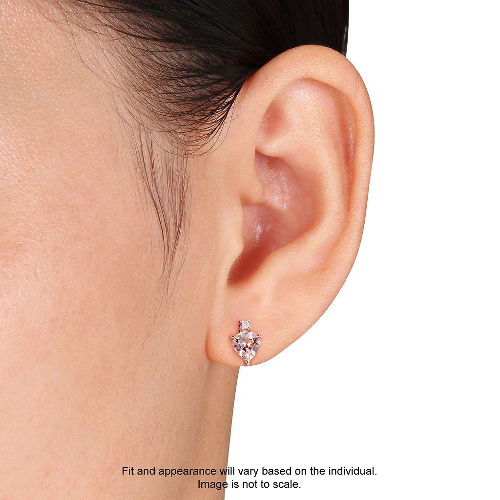 10k Rose Gold Morganite & Diamond Accent Heart Stud Earrings