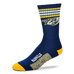 Adult For Bare Feet Nashville Predators Deuce Striped Crew Socks