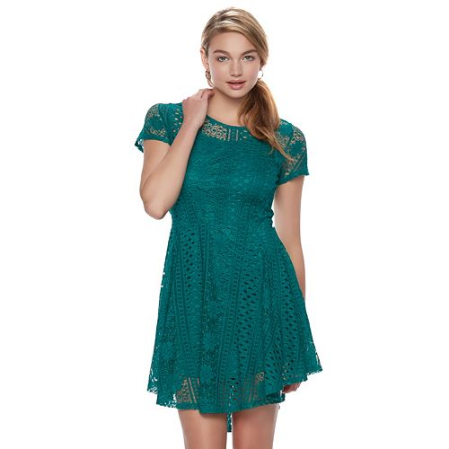 Juniors' Up by ultra pink Green Lace Skater Dress