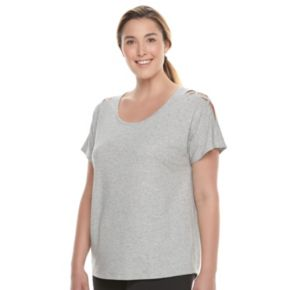 Plus Size Tek Gear® Lattice Shoulder Tee