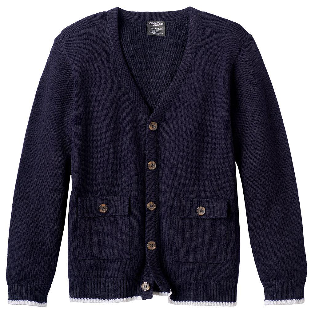 Boys 4-16 Eddie Bauer Solid Cardigan Sweater