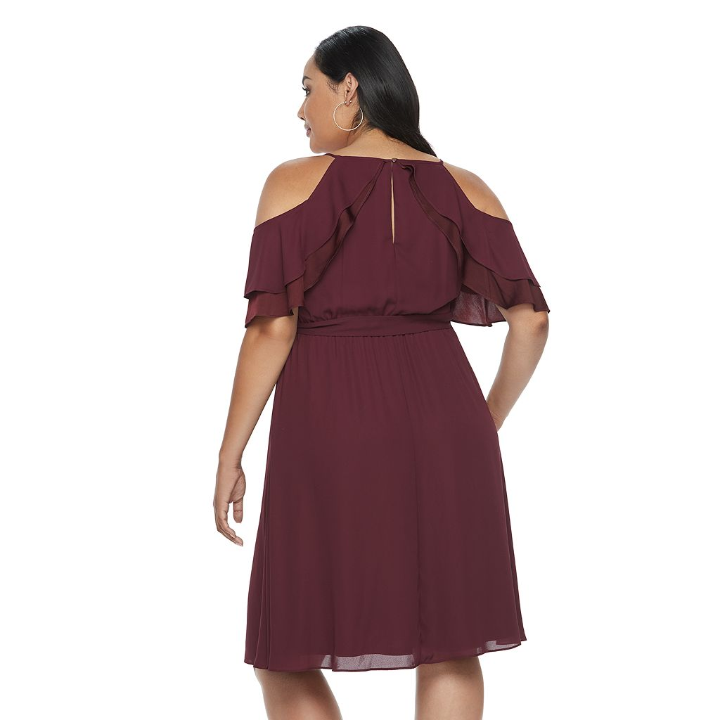 Plus Size Jennifer Lopez Chiffon Cold-Shoulder Dress