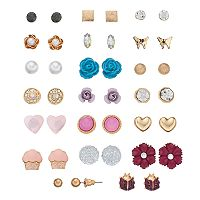 Mudd® Butterfly, Flower & Cupcake Nickel Free Stud Earring Set