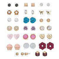 Mudd® Butterfly, Flower & Cupcake Nickel Free Stud Earring Set