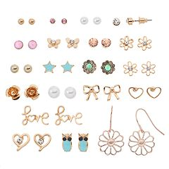 Mudd® 'Love,' Heart & Flower Nickel Free Earring Set