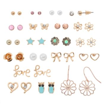"Mudd® ""Love,"" Heart & Flower Nickel Free Earring Set"