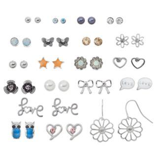 """Mudd® """"Love,"""" Word Bubble, Flower & Heart Nickel Free Earring Set"""