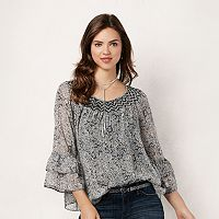 Women's LC Lauren Conrad Printed Smocked Peasant Top