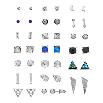 Mudd® Triangular, Arrow & Leaf Nickel Free Stud Earring Set