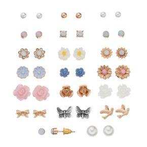 Mudd® Flower, Butterfly, Bird & Bow Nickel Free Stud Earring Set