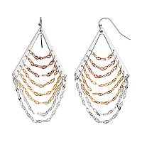 Jennifer Lopez Tri Tone Ladder Nickel Free Chandelier Earrings