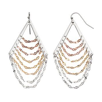 Jennifer Lopez Tri Tone Ladder Nickel Free Chandelier Earrings